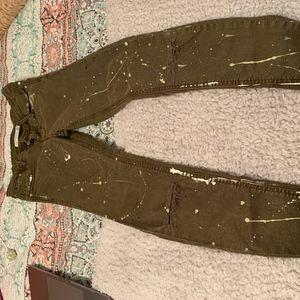 Zara jeans, skinny jeans, ripped jeans, green jean